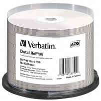 Verbatim DVD-R, 43755, DataLife PLUS, 50-pack, 4.7GB, 16x, 12cm, Professional, Advanced Azo+, cake box, Wide Thermal Printabl...