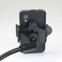 Držák mobilu,PDA,GPS kloubový, do auta, nastavitelná šířka, černý, plast, LOGO, s USB adaptérem 1.5 A, černá, mobil