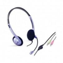 Genius HS-02B, sluchátka s mikrofonem, ovládání hlasitosti, černo-stříbrná, 2x 3.5 mm jack
