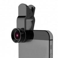 Čočka (objektiv) na mobil, s klipem, plast/hliník, černá, 3v1