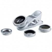 Čočka (objektiv) na mobil, s klipem, plast/hliník, stříbrná, 3v1