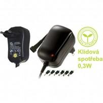 Síťový adaptér, 220V (el.síť), 3-12V, 1000mA, univerzální, stabilizovaný