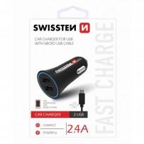 SWISSTEN, micro USB auto nabíječka, + USB kabel (A male-micro) 12V, 5V, 2400mA, nabíjení mobilních telefonů a GPS, černá, odn...