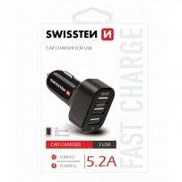 SWISSTEN, USB auto nabíječka, 12V, 5V, 5200mA, nabíjení mobilních telefonů a GPS, černá