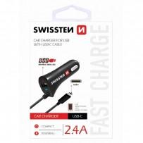SWISSTEN, USB C- auto nabíječka, 1x konektor (USB C)+ USB port 12V, 5V, 2400mA, nabíjení mobilních telefonů a GPS, černá
