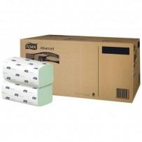 Papírový ručník ZZ, 248 x 230mm, zelený, 3750ks, dvouvrstvý
