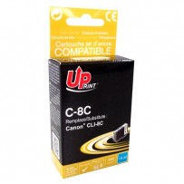 UPrint kompatibilní ink s CLI8C, cyan, 14ml, C-8C, pro Canon iP4200, iP5200, iP5200R, MP500, MP800, s čipem