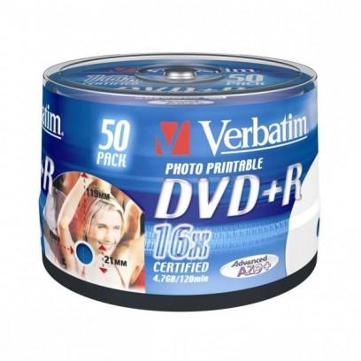 Verbatim DVD+R, DataLife PLUS, 50-pack, 4.7GB, 16x, 12cm, Professional, Advanced Azo+, cake box, Wide Printable-No ID