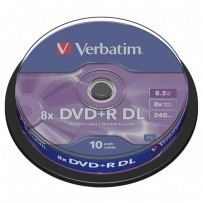 Verbatim DVD+R, 43666, DataLife PLUS, 10-pack, 8.5GB, 8x, 12cm, General, Double Layer, cake box, Matt Silver, bez možnosti po...