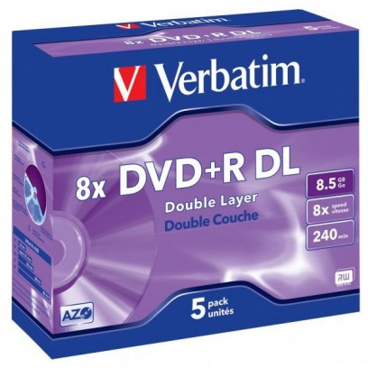 Verbatim DVD+R, 43541, DataLife PLUS, 5-pack, 8.5GB, 8x, 12cm, General, Double Layer, jewel box, Scratch Resistant, bez možno...