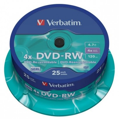 Verbatim DVD-RW, 43639, DataLife PLUS, 25-pack, 4.7GB, 4x, 12cm, General, Serl, cake box, Scratch Resistant, bez možnosti pot...