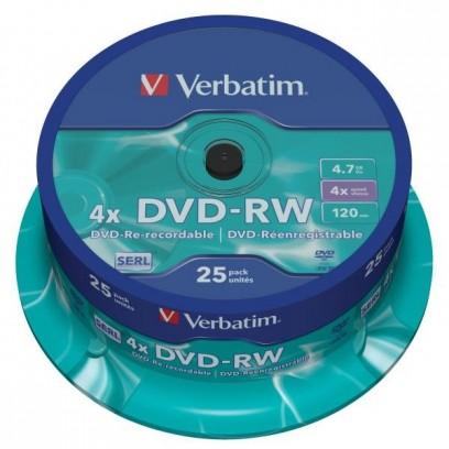 Verbatim DVD-RW, 43639, DataLife PLUS, 25-pack, 4.7GB, 4x, 12cm, General, Serl, cake box, Scratch Resistant, bez možnosti pot...