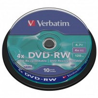 Verbatim DVD-RW, 43552, DataLife PLUS, 10-pack, 4.7GB, 4x, 12cm, General, Serl, cake box, Scratch Resistant, bez možnosti pot...