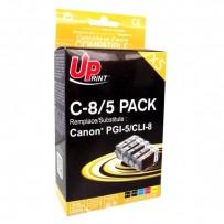 UPrint kompatibilní ink s CLI8, 2xblack/1xcyan/1xmagenta/1xyellow, C8/5 PACK, pro Canon iP4200, iP5200, iP5200R, MP500, MP800...