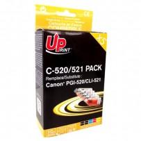 Sada kompatibilní Canon CLI-521, 2x černá + modrá + červená + žlutá