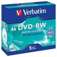 Verbatim DVD-RW, 43285, DataLife PLUS, 5-pack, 4.7GB, 4x, 12cm, General, Serl, jewel box, Scratch Resistant, bez možnosti pot...