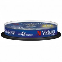 Verbatim DVD+RW, 43488, DataLife PLUS, 10-pack, 4.7GB, 2-4x, 12cm, General, Standard, cake box, Scratch Resistant, bez možnos...