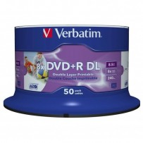 Verbatim DVD+R, 43703, Double Layer, 50-pack, 8.5GB, 8X, 12cm, General, Wide Inkjet Printable, cake box, Printable, pro archi...
