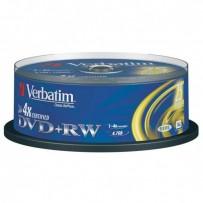 Verbatim DVD+RW, 43489, DataLife PLUS, 25-pack, 4.7GB, 4x, 12cm, General, Standard, cake box, Scratch Resistant, bez možnosti...