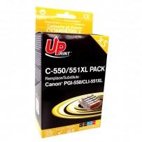 UPrint kompatibilní ink s CLI551, 2xblack/1xcyan/1xmagenta/1xyellow, C-551XL-PACK, pro Canon PIXMA iP7250, MG5450, MG6350