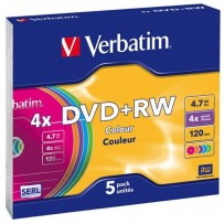 Verbatim DVD+RW, 43297, DataLife PLUS, 5-pack, 4.7GB, 4x, 12cm, General, Standard, slim box, Colour, bez možnosti potisku, pr...