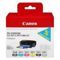Canon originální ink PGI-550/CLI-551PGBK/C/M/Y/BK/GY Multipack, black/color, 6496B005, Canon PIXMA iP8750, MG7150, MG6350