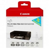 Canon originální ink PGI-29 MBK/PBK/DGY/GY/LGY/CO Multi pack, black/color, 4868B018, Canon Pixma Pro 1