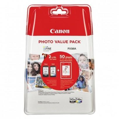 Sada Canon PG-545XL + CL-546XL černá + barevná + fotopapíry