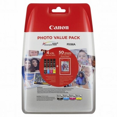 Sada Canon CLI-551XL multipack (4ks) + 50ks fotopapíru