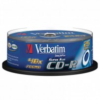 Verbatim CD-R, DataLife PLUS, 25-pack, 700MB, Super Azo, 52x, 80min., 12cm, Crystal, bez možnosti potisku, cake box