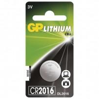 Baterie lithiová, konflíková, CR2016, 3V, GP, blistr, 1-pack
