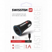 Micro USB auto nabíječka, 12V, 5V, 1000mA, nabíjení mobilních telefonů a GPS, černá, odpojitelný kabel