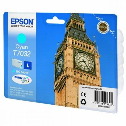 Epson originální ink C13T70324010, L, cyan, 800str., Epson WorkForce Pro WP4000, 4500 series