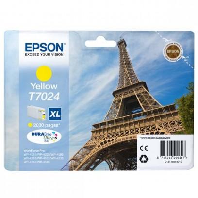 Epson originální ink C13T70244010, XL, yellow, 2000str., Epson WorkForce Pro WP4000, 4500 series