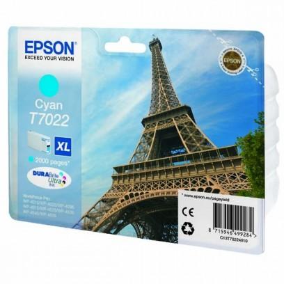 Epson originální ink C13T70224010, XL, cyan, 2000str., Epson WorkForce Pro WP4000, 4500 series