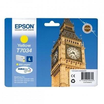 Epson originální ink C13T70344010, L, yellow, 800str., Epson WorkForce Pro WP4000, 4500 series
