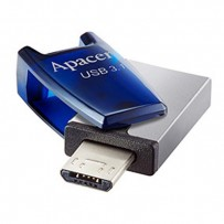 Apacer USB flash disk OTG, 3.1/2.0 Micro, 64GB, AH179, stříbrný, modrý, AP64GAH179U-1, s krytkou