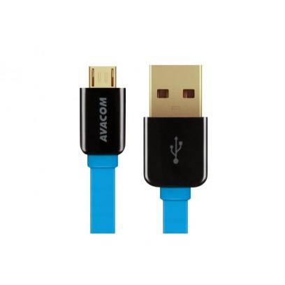 Kabel USB (2.0), USB A M- USB micro M, 1.2m, modrý, Avacom