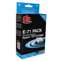 UPrint kompatibilní ink s C13T071, 2xblack/1xcyan/1xmagenta/1xyellow, 2x12 a 3x10ml, E-71 PACK, pro Epson D78, DX4000, DX4050...