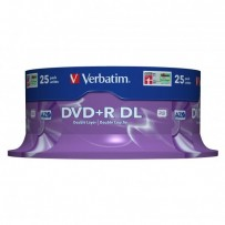 Verbatim DVD+R, 43757, Double Layer, 25-pack, 8.5GB, 8x, 12cm, General, Matt Silver, cake box, pro archivaci dat