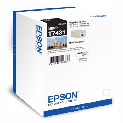 Epson originální ink C13T74314010, black, 2500str., 49ml, Epson WorkForce Pro WP-M4525 DNF, WP-M4015 DN
