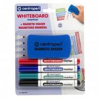 Centropen, sada whiteboard marker 8559, color, 4ks, 2.5mm, alkoholová báze. součásti baleni je magnetická hou