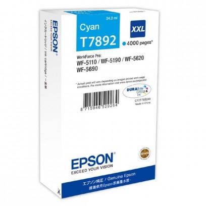Epson originální ink C13T789240, T789, XXL, cyan, 4000str., 34ml, 1ks, Epson WorkForce Pro WF-5620DWF, WF-5110DW, WF-5690DWF