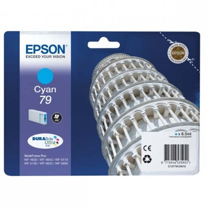 Epson originální ink C13T79124010, 79, L, cyan, 800str., 7ml, 1ks, Epson WorkForce Pro WF-5620DWF, WF-5110DW, WF-5690DWF