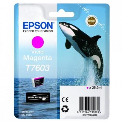 Epson originální ink C13T76034010, T7603, vivid magenta, 25,9ml, 1ks, Epson SureColor SC-P600