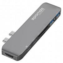 USB (3.1), USB typ C hub 7-port, MacHub-Pro, šedý, Promate, USB 3.1, USB 3.0, Thunderbolt 3,TF, SD, HDMI