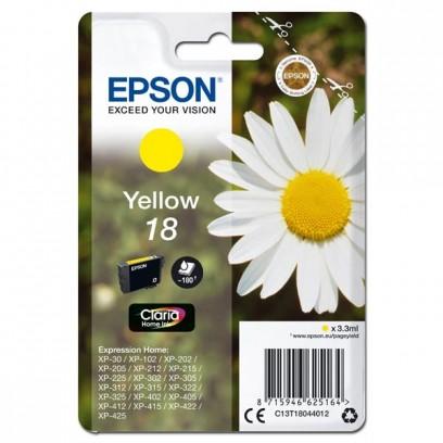 Epson originální ink C13T18044012, T180440, yellow, 3,3ml, Epson Expression Home XP-102, XP-402, XP-405, XP-302