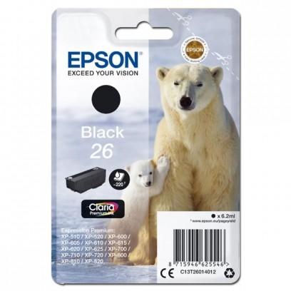 Epson originální ink C13T26014012, T260140, black, 6,2ml, Epson Expression Premium XP-800, XP-700, XP-600