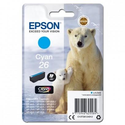 Epson originální ink C13T26124012, T261240, cyan, 4,5ml, Epson Expression Premium XP-800, XP-700, XP-600