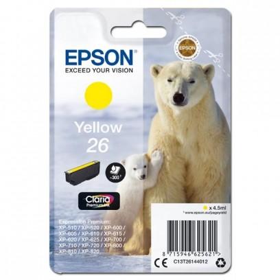 Epson originální ink C13T26144012, T261440, yellow, 4,5ml, Epson Expression Premium XP-800, XP-700, XP-600